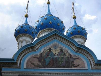 La iglesia ortodoxa rusa, frente al Parque Lezama